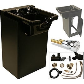 LCL Beauty Black Shampoo Cabinet with Heavy Duty Ceramic Shampoo Bowl and Vacuum Breaker