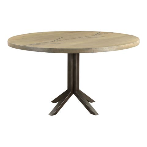 Aurelle Home Solid Oak and Iron Inlay Round Dining Table