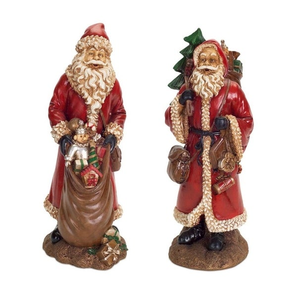 Set of 2 Antiqued Finish Classic Santa Claus Christmas Tabletop Figurines 16.75""