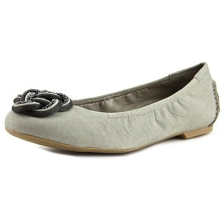 B. Makowsky Woven Knot Flat Women W Round Toe Leather Gray Ballet Flats