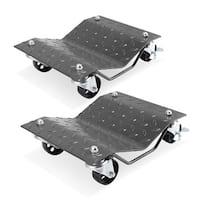 Arksen 2 Pcs 1500LB Set Dollies Car Auto Repair Dolly Tire Skates Vehicle Moving Diamond w/ Wheels & Lock, Gray