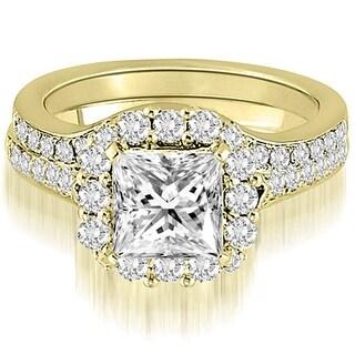 1.42 CT.TW Halo Princess And Round Cut Diamond Bridal Set - White H-I