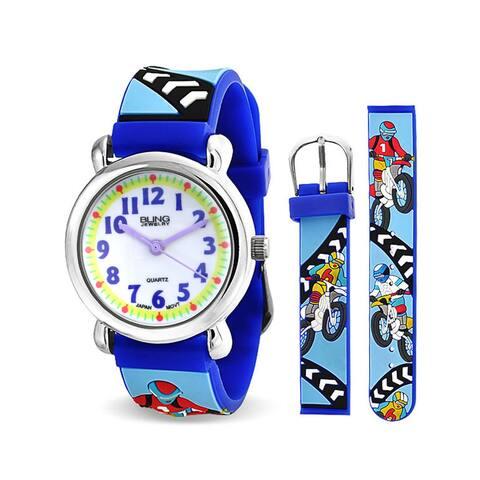 Motorcycle Dirt Bike Sports Waterproof Wrist Watch Time Teacher Quartz 3D Cartoon Blue Silicone Wristband Round Dial
