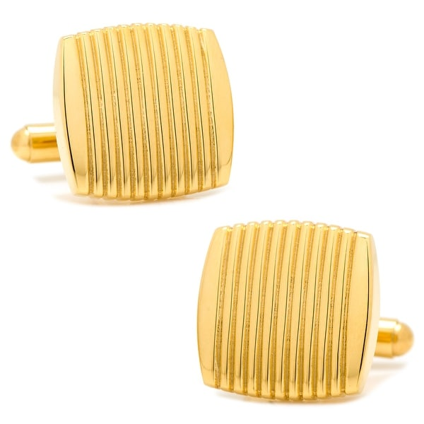 Stainless Steel Gold Ribbed Square Cufflinks