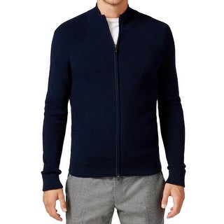 Michael Kors NEW Blue Mens Size 2XL Ribbed Knit Full Zip Sweater