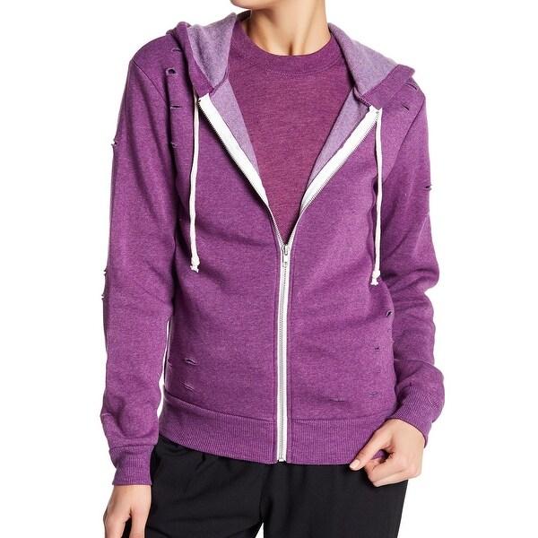 Alternative Purple Women's Size XS Zip-Front Hooded Ripped Sweater