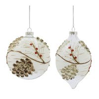 "Pack of 6 Branch and Pine Cone Textured Christmas Glass Ornaments 6.75"" - brown"