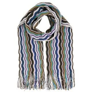 Missoni D4910 Wool Blend Crochet Knit Wave Scarf
