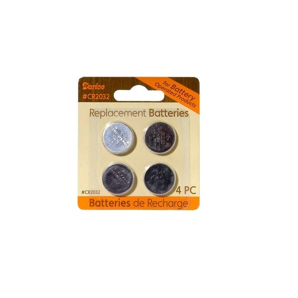 Pack of 4 Lithium Button Cell CR2032 Replacement Batteries - 3 Volts - Silver