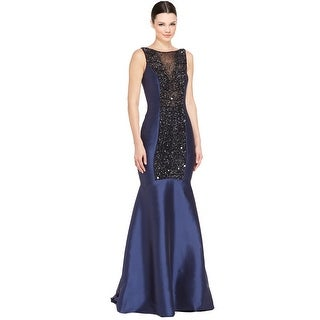 Pamella by Pamella Roland Beaded Mikado Satin Mermaid Evening Gown Dress - 10