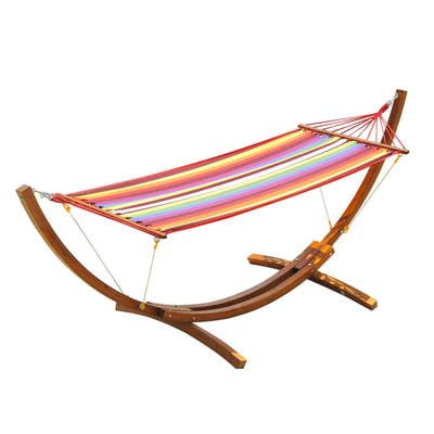 Outsunny 10.5' Solid Pine Wood Outdoor Single Person Curved Arc Hammock with Stand