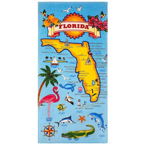 Florida Map 30x60 Brazilian Velour Beach Towel