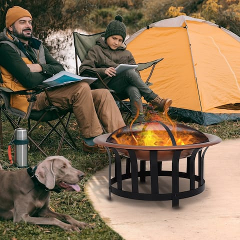 Outsunny Copper-Colored Round Metal Wood Fire Pit Bowl with Black Ornate Base, Poker, & Mesh Screen for Ember Protection