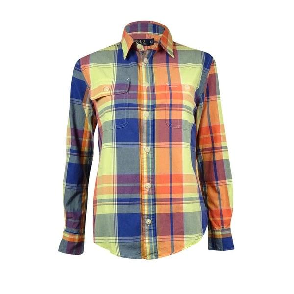 c9a75a46 Shop Polo Ralph Lauren Women's Contrast-Pocket Madras Plaid Shirt - Sun  Kiss/Navy - XS - Free Shipping Today - Overstock - 16197997