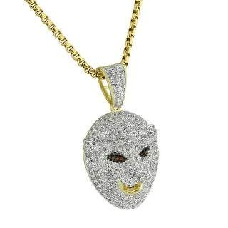"""Lion Tiger Face Pendant Full Iced Out 14k Gold Tone 1.6"""" Custom Charm Necklace"""