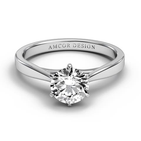 14KT Gold 3/8 Carat Diamond Engagement Ring Round 6 Prong Solitaire
