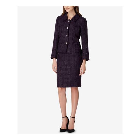 TAHARI Womens Purple Four Button Metallic Boucle Jacket Size 4