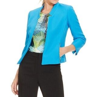 Kasper Womens Casual Blazer Textured Open Front