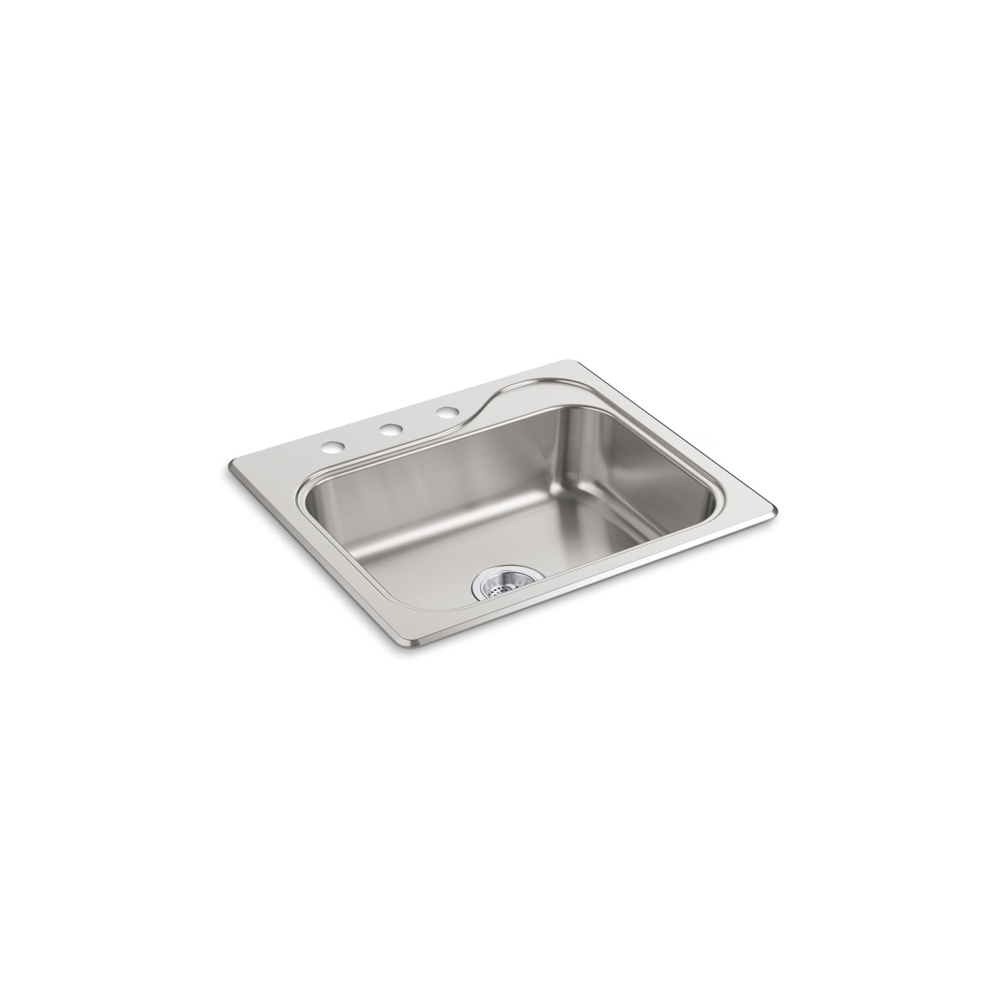 Shop Sterling Southhaven 25 In Single Bowl Drop In 20 Gauge Stainless Steel Kitchen Sink Overstock 30022944