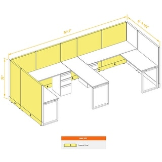 Commercial Office Furniture 53H 2pack Bullpen Powered (6x6 - White Desk White Paint - Assembly Required)