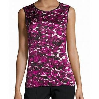 Kasper NEW Purple Women's Size Small S Crewneck Printed Tank Blouse