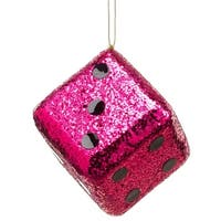 "4"" Casino Royale Shiny Fuchsia Pink Glitter Gambling Dice Christmas Ornament"