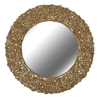 Kenroy Home 60203  Seagrass Round Mirror - Natural Material