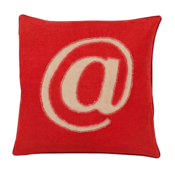 "20"" Crimson Red and Tan Trending ""@"" Novelty Throw Pillow - Down Filler"