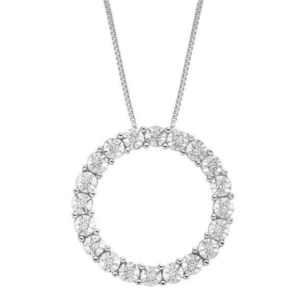 1/10 ct Diamond Circle Pendant in 14K White Gold