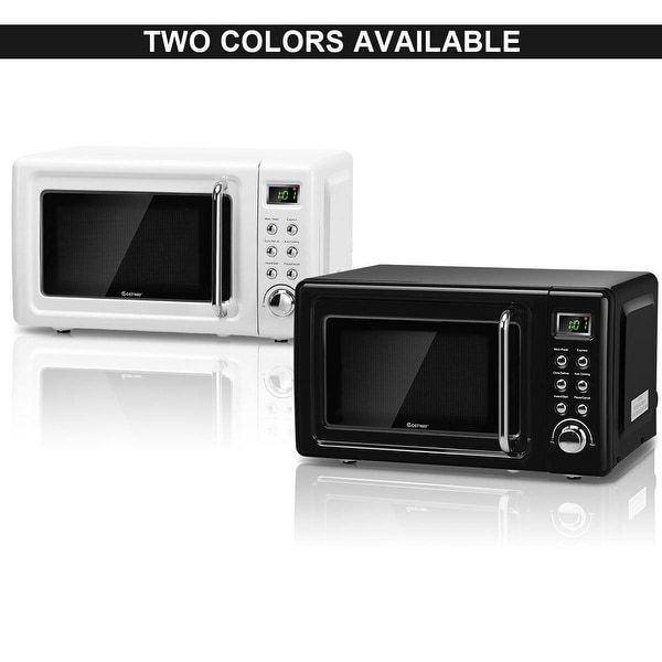Costway 0.7Cu.ft Retro Countertop Microwave Oven 700W LED Display Glass Turntable BlackWhite