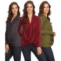 Sharon's Outlet 3 Pack Women's Long Sleeve Criss Cross Cardigan Small to 3XL Made in USA - burgundy/gunmetal/olive - Thumbnail 0