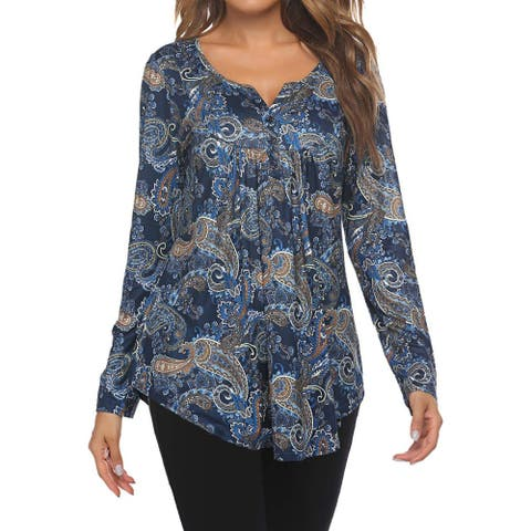 Women's Plus Size Henley Shirts Paisley Blouses Floral Tunic Tops