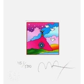 "Sage on Mountain, Ltd Ed Litho (Mini 4.875"" x 4.5""), Peter Max"