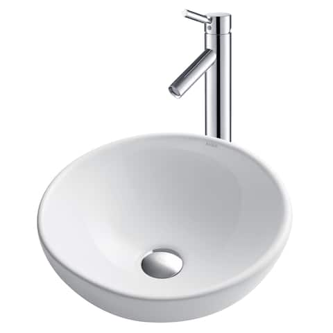 Kraus 3-in-1 Set White Round Ceramic Vessel Sink Sheven Faucet w Drain