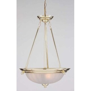 "Volume Lighting V2183 3 Light Bowl Shaped 22"" Height Pendant with Frosted Ribbed"