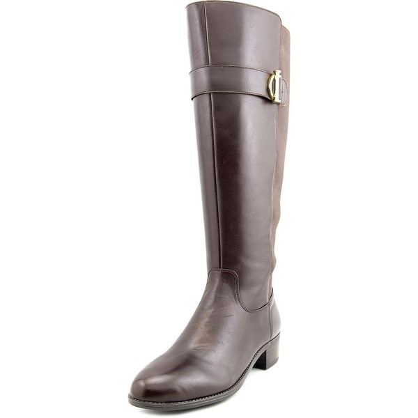 Isaac Mizrahi Senso Wide Calf Women W Round Toe Leather Brown Knee High Boot