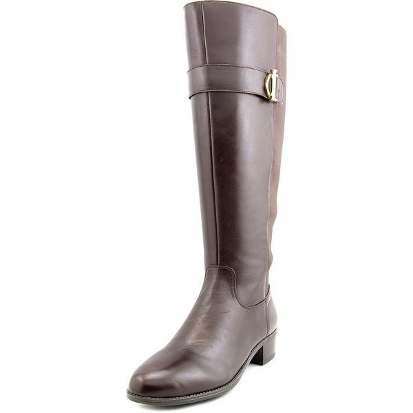 Isaac Mizrahi Senso Wide Calf Women Round Toe Leather Brown Knee High Boot