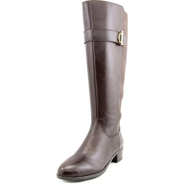 Isaac Mizrahi Senso Wide Calf Women Round Toe Leather Brown Knee High Boot