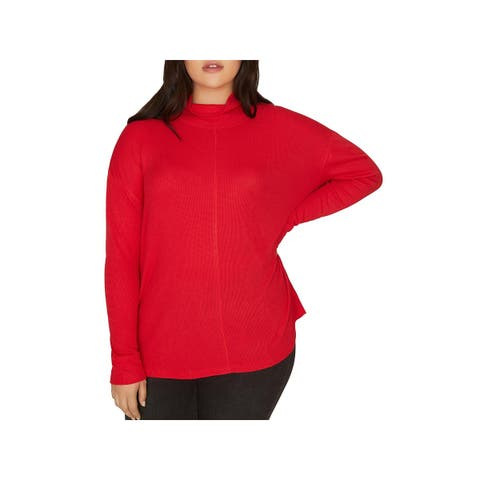 Sanctuary Womens Plus Highroad Thermal Top Mock Neck Waffle