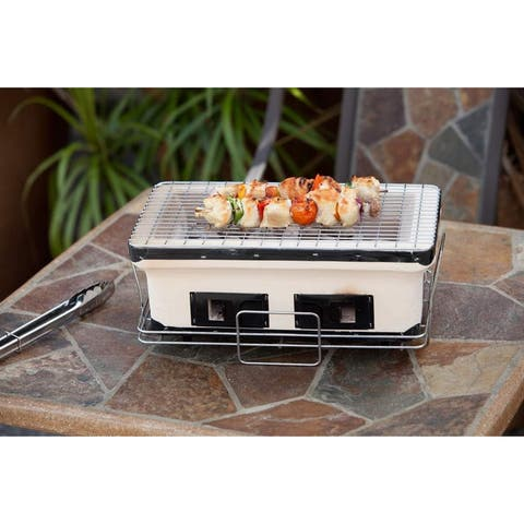 Fire Sense 60450 HotSpot Rectangle Yakatori Charcoal Grill - - Ceramic Clay