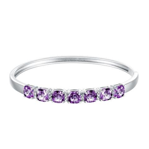 7-Stone Cushion-Cut Gemstone Bangle Bracelet, Sterling Silver