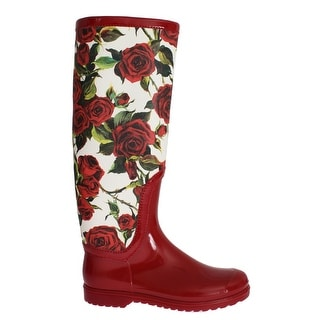 Dolce & Gabbana Red Roses Rubber Rain Boots - 38