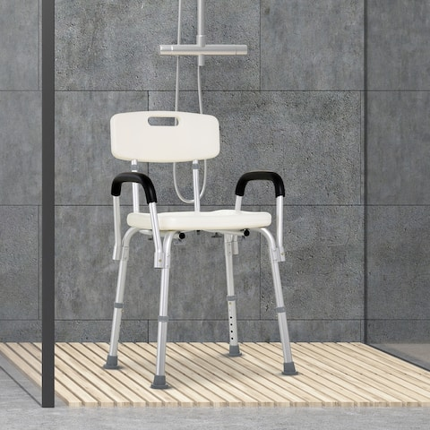 """HomCom Adjustable Medical Shower Chair w/ Arms and Backrest - 21"""" L x 16 - 17.5"""" W x 28.5"""" - 33"""" H"""