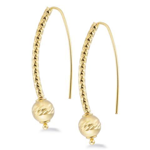 Bronzoro 18 k gold plated Fishhook Drop Polished Bead Earrings