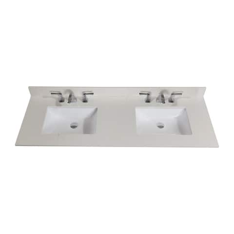 Altair Design Belluno 61 in. Stone effects Vanity Top in Milano White with White Sink