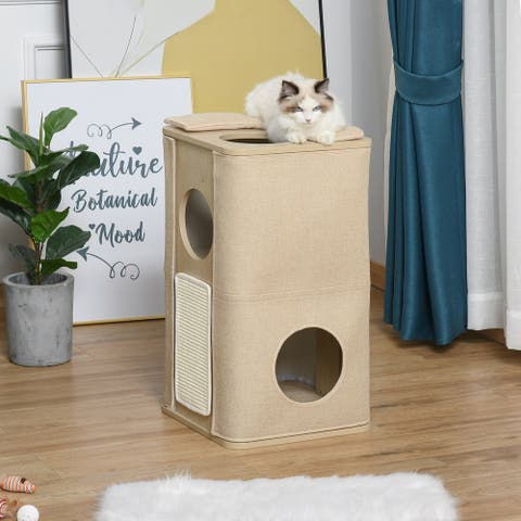 PawHut Wooden Cat Condo 3 Story Barrel Tower w/ Perch Removable Cover Cushions Sisal Scratching Carpet