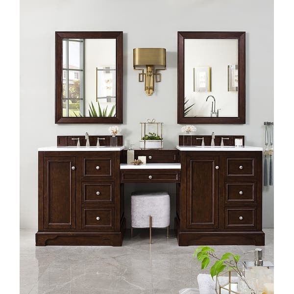 De Soto 82 Double Vanity Set Burnished Mahogany With Makeup Table Overstock 20683653 Mahogany Base Classic Wht By Silestone Top