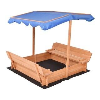Costway Beach Cabana Sandbox Retractable w/ Canopy Bench Seat Kids Children Outdoor Play