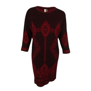 NY Collection Women's 3/4 Sleeves Geo Print Dress