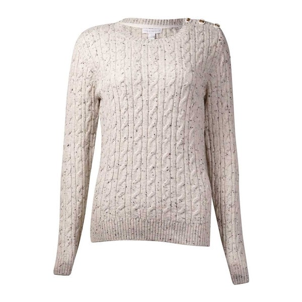 Charter Club Women's Button-Trim Marled Cable Sweater - wheat combo